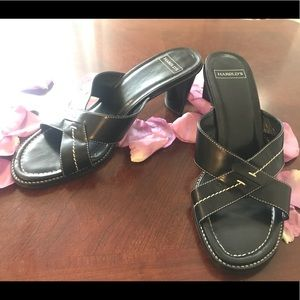 Harold's Black Leather Sandal Heels 8.5